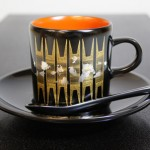 輪島塗 コーヒーカップ 箔散らし沈金 黒